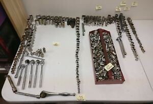 Lot Of 754 Various Sockets Wrenches Extensions 3 8 1 4 Husky Others