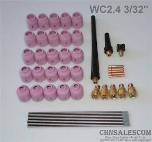 48 Pcs Tig Welding Kit Gas Lens For Tig Welding Torch Wp 9 Wp 20 Wp 25 Wc 3 32