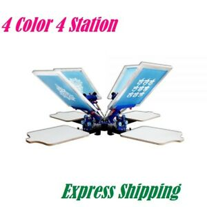 4 Color 4 Station Silk Screen Printing Machine Micro Registration