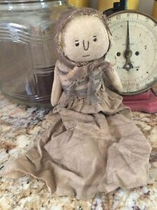 Clara Doll Primitive Farmhouse Rustic Country Tuck Shelf Cupboard Decor