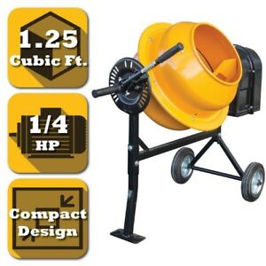 Electric Cement And Concrete Mixer 1 25 Cu Ft 1 4 Hp Pro series 154 Lbs Capacity