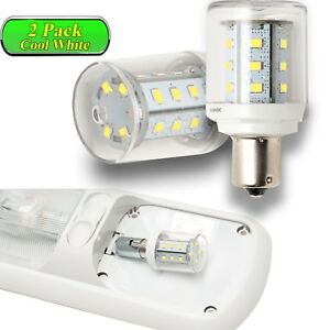 2x Cool White 1156 1141 Rv Camper Trailer Led Interior Light Bulbs 10 30v 360 Lm
