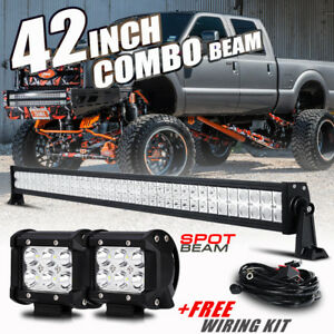 42 560w 2x4 Pods Cree Led Work Light Bar Flood Spot Offroad For Ford Chevy Ram