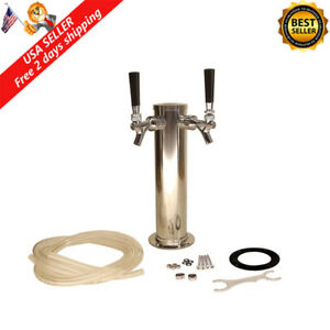 Stainless Steel Double Tap Draft Beer Tower Keg System Kit Home Brew Kegerator