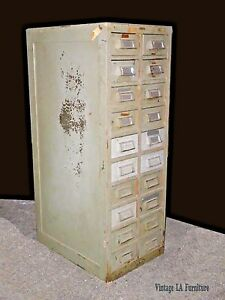 57 Tall Vintage Wright Line Industrial Gray Wood Card Catalog File Cabinet