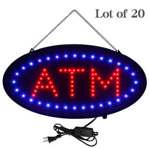 Lot Of 20 Led Neon Light Oval Atm Sign W Motion Animation On off Switch 19 x10