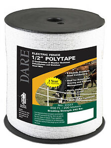 Electric Fence Tape White Poly 5 wire Stainless Steel 5 in X 656 ft
