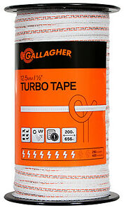 Electric Fence Turbo Tape White 1 2 in X 656 ft