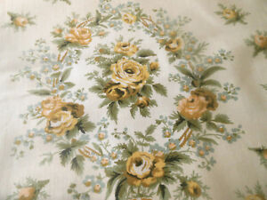 Antique Vintage English Roses Cameo Cartouche Chintz Cotton Fabric Yellow Sage