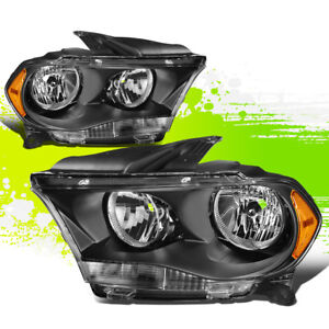 For 11 13 Dodge Durango Black Housing Amber Side Bumper Driving Headlight lamps