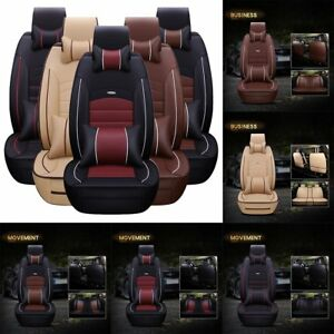 5 seats Universal Deluxe Pu Leather Car Seat Cover Full Set Front rear Cushion