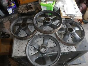 John Deere Cast Iron Wheel Set Hit Miss Gas Engine Steam Punk Industrial Cart