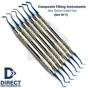 Dental Composite Filling Instrument Set Hollow Handle Titanium Blue Restorative