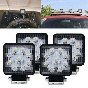 4pcs 4inch Square Led Work Light Spot Beam Tractor Truck Trailer Driving Lamp