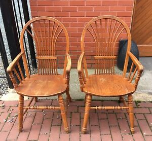 Pair Richardson Brothers Company Solid Oak Arm Chairs Usa Vintage