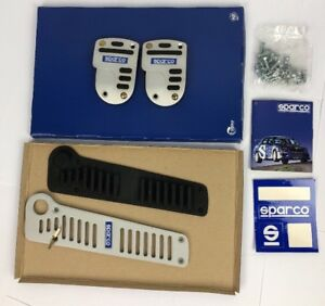 Sparco 3 Pc Stripe Pedal Kit Tall Manual Black Blue Silver 0378623sa Nos