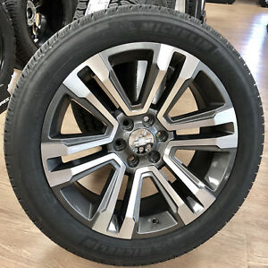 Chevy Suburban Tahoe Silverado Alloy Midnight Silver 22 Wheels Rims Tires Tpms