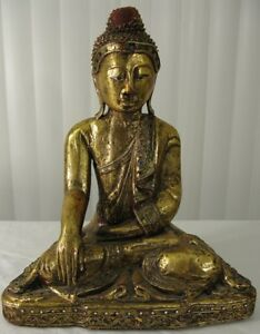 Chinese Burmese Vintage Gold Gilt Lacquered Carved Wood Buddha Statue 16 Inch