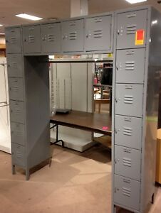 Vintage Industrial Locker Units Storage Commercial Pick Up Only 16 Compartments