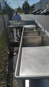 3 Compartment Commercial Stainless Steel Sink 17 l X 3 w With A 6 L Turn