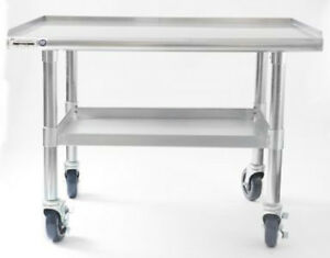 Naks 48 x27 16 Gauge Stainless Steel Equipment Stand W Undershelf And Casters
