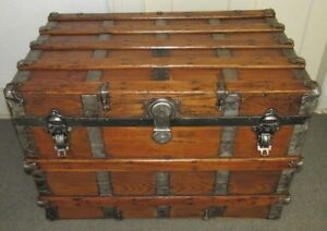Antique Steamer Trunk Vintage Flat Top Victorian Travel Chest Great Coffee Table