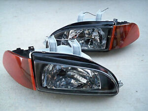 For Honda Civic Eg Ej Jdm Black Headlights Smoked Amber Corners Sir City Light