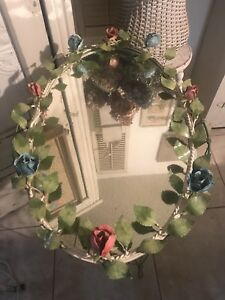Vintage Italian Tole Roses Wall Mirror Red Blue