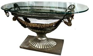 Vintage Empire Style Marble Glass Embossed Steel Brass Oval Entry Table