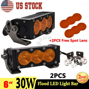2x 6 30w Amber Led Work Light Bar Single Row Flood Offroad Atv 4wd Spot Cover