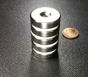10 Neodymium N52 Disc Magnets With Countersunk Holes Strong Rare Earth 1 X 1 4