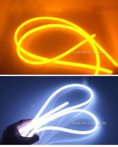 2x 60cm Dual Flexible Soft Guide Car Led Strip White Drl Amber Turn Signal Light