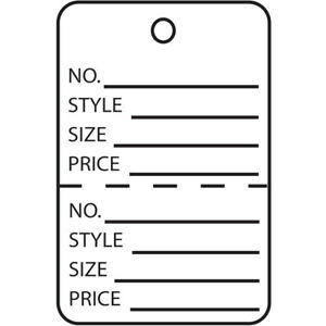 Box Partners Garment Tags Perforated 1 1 4 X 1 7 8 White 1000 case G26012