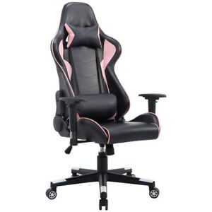 Black Pink High Back Gaming Chair With Lumbar Support Home Office Furniture Us