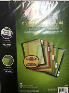 Staples Better Fixed Tab Dividers 5 tab Mulitcolor 1 Set pack Binders Supplies