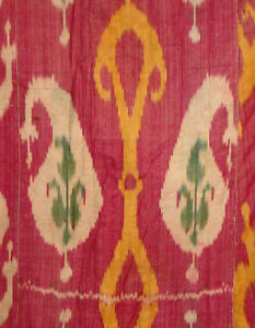 Antique Uzbek Bukhara Mans Silk Ikat Robe