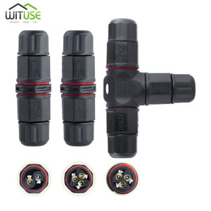 Ip68 Waterproof 3 pin 2 pin Cable Connector Plug Socket Junction For Gardening