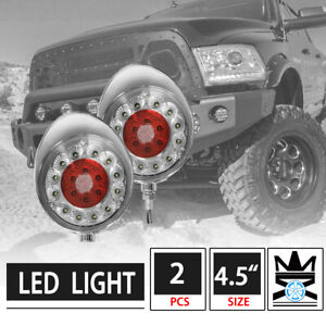 2pcs 4 5 Round Off road Clear Lens Red Led Work Fog Lights W Chrome Cover