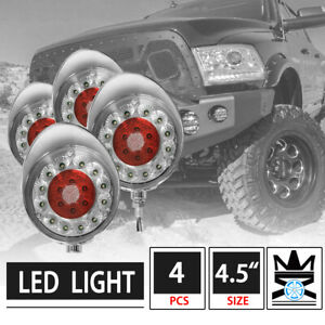 4pcs 4 5 Round Off Road Clear Lens Red Led Work Fog Lights W Chrome Cover
