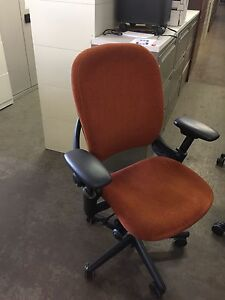 Executive Chair By Steelcase Leap V1 Model Orange Color Fabric