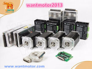 Free 4axis Wantai Cnc Kit Nema34 Stepper Motor Dual Shaft 1600oz in