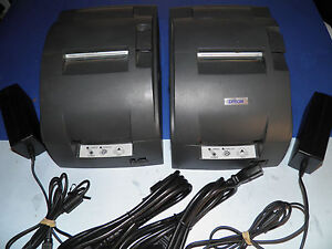 Lot Of 2 Epson Tm u220b M188b Dot Matrix Pos Receipt Printer Serial W Power Sup
