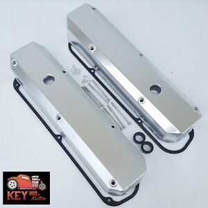 Small Block Chrysler Fabricated Aluminum Valve Covers Satin Mopar Dodge 318 360