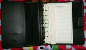 retro Franklin Quest Bonded Leather Hard 7 Ring Pkt Binder Organizer Tabs Clip