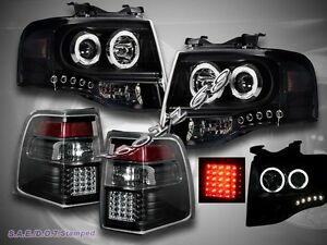 2007 2011 Ford Expedition 2 Halo Ccfl Led Projector Headlights Led Tail Lights