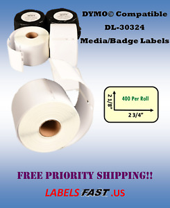30324 Media Badges 400 Labels White Adhesive Compatible Dymo 300 450 Twin Turbo