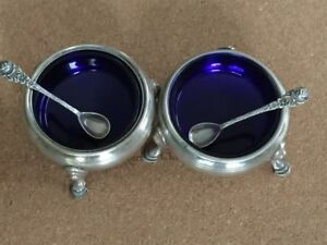 Vintage Pair Sterling Silver Salt Cellars With Cobalt Blue Glass Liners