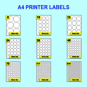 White Round Labels Self Adhesive Stickers On A4 Sheets