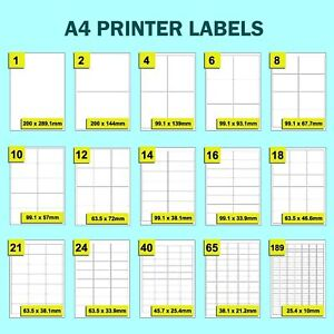 White Address Rectangle Labels Self Adhesive Stickers On A4 Sheets