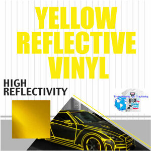 Yellow Reflective Vinyl Adhesive Cutter Sign Hight Reflectivity 24 X 25 Feet